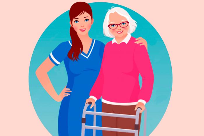Dibujo en color de una doctora junto a una persona de la tercera edad con andador