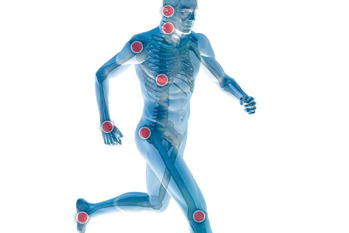 Dibujo de hombre corriendo con puntos de flexión en color rojo