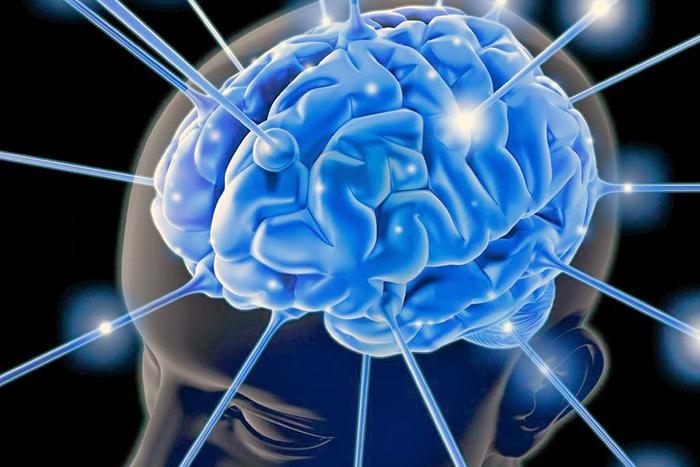 Dibujo de fondo negro con un cerebro humano de color azul